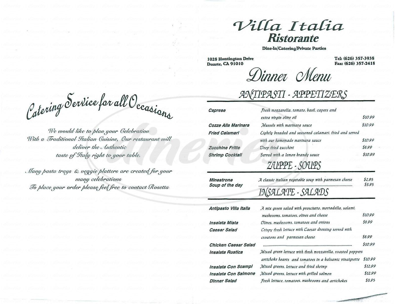 menu for Villa Italia Ristorante