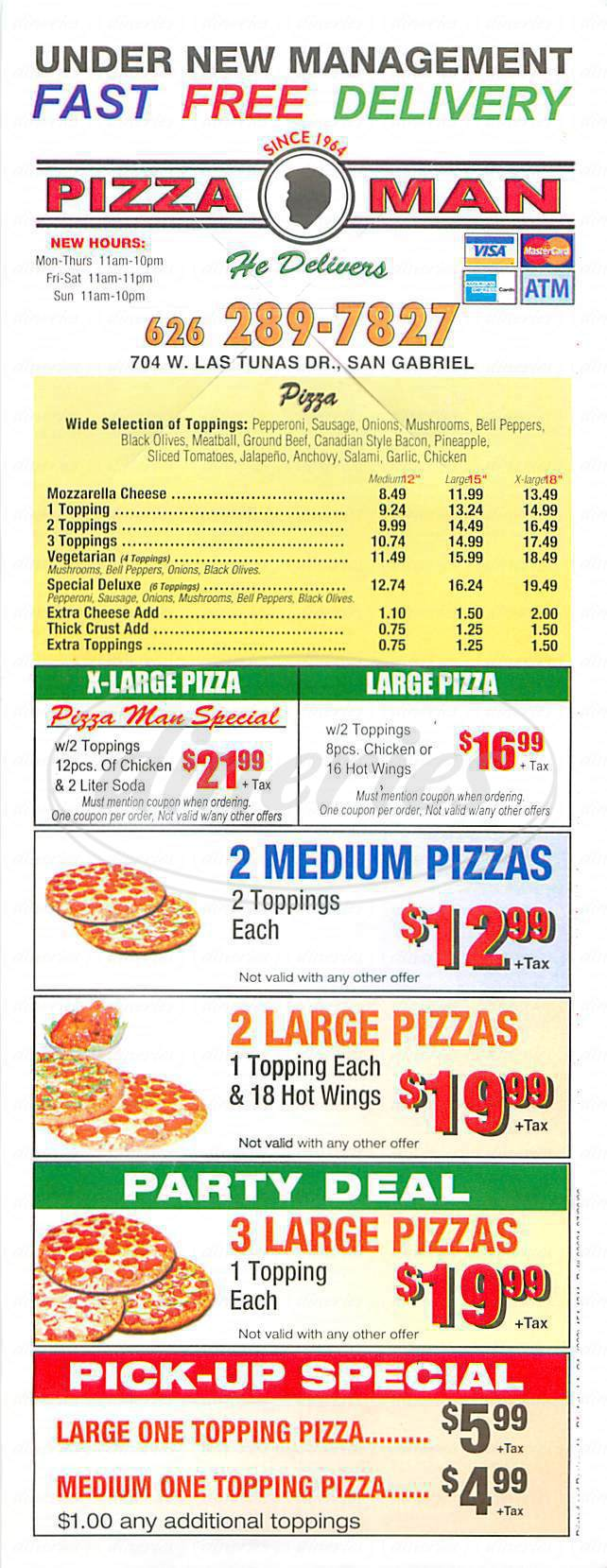 menu for Pizza Man