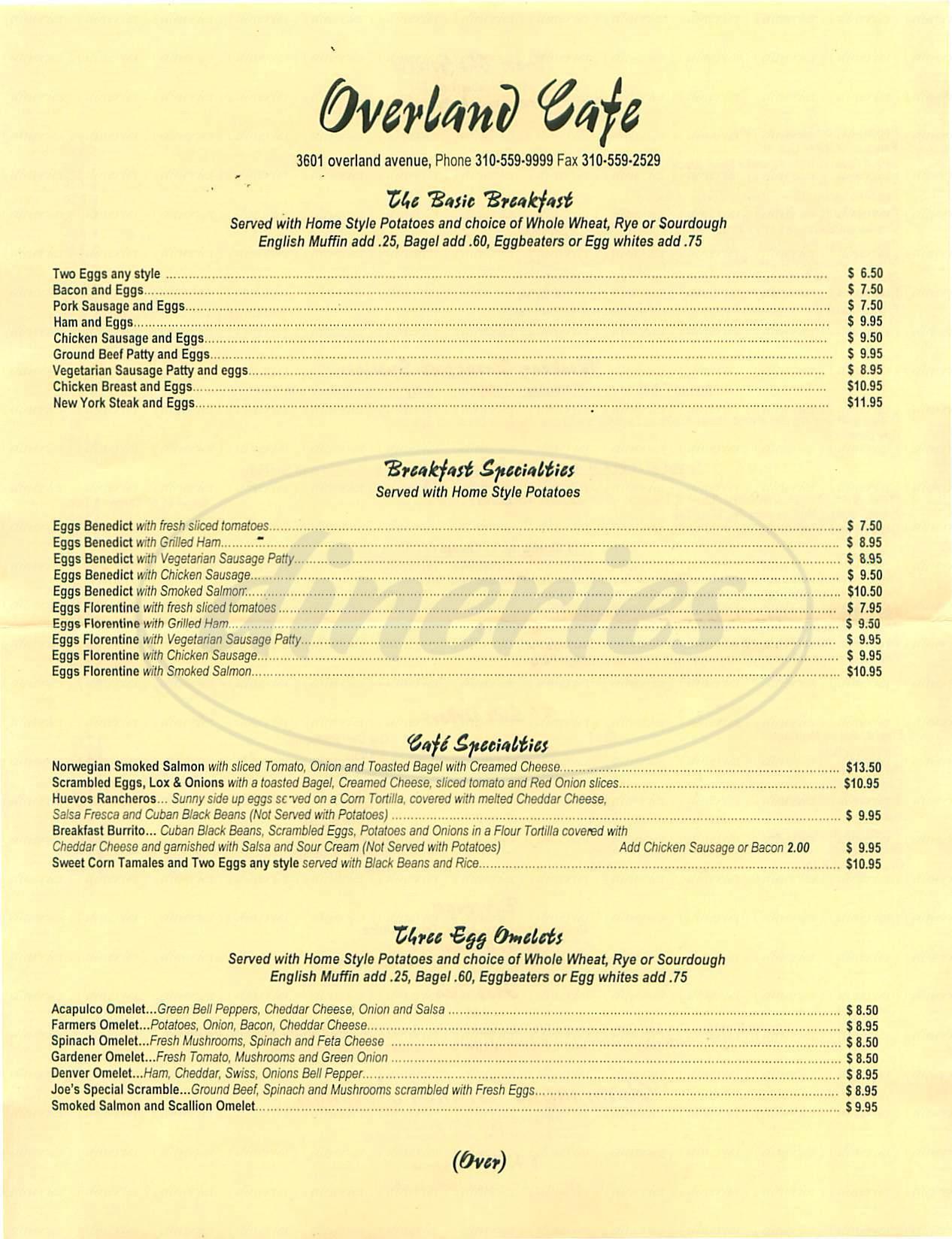 menu for Overland Café