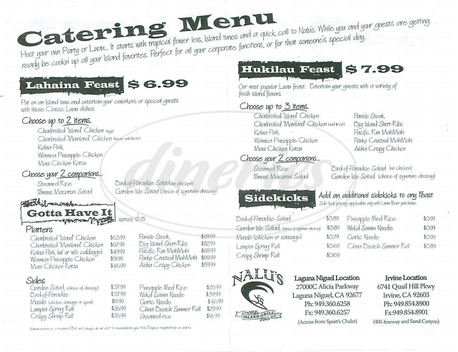 menu for Nalu's Island Grill