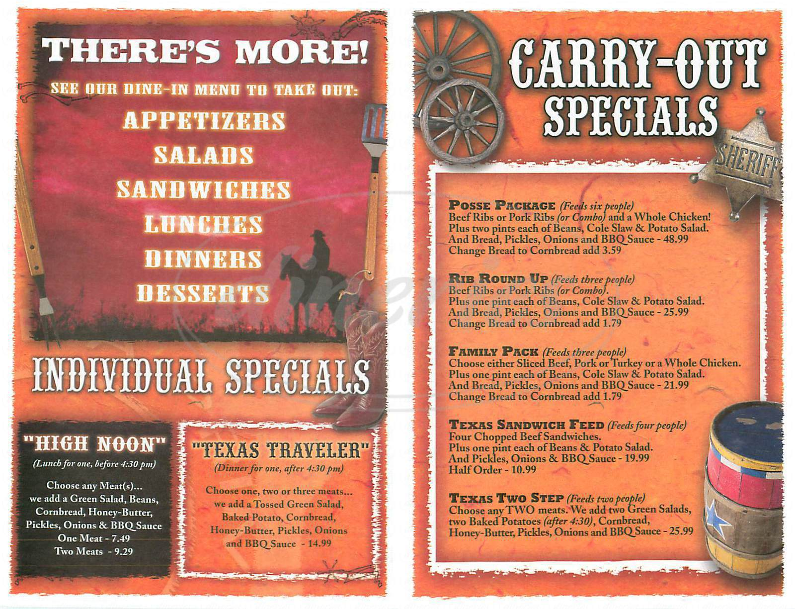 menu for Back Forty Texas Bbq
