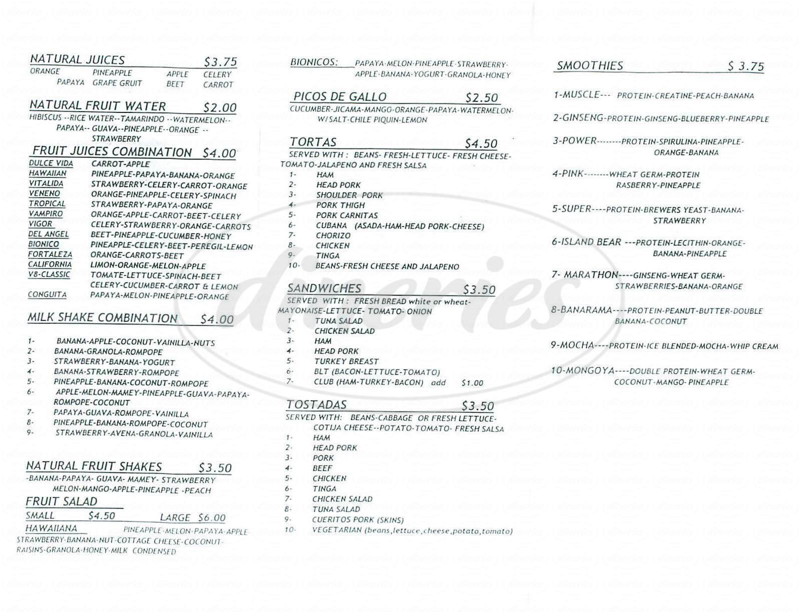 menu for La Torta Caliente