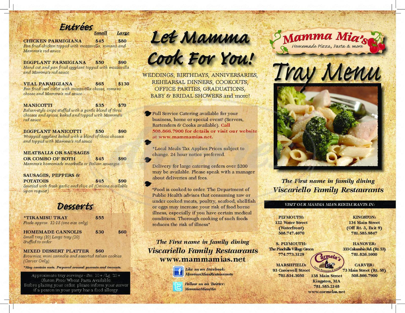 menu for Mamma Mia's