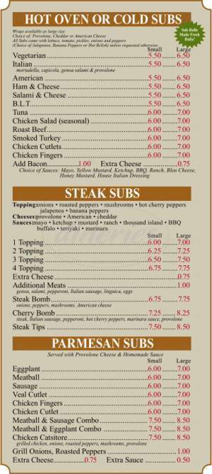 menu for Medway Village Pizza
