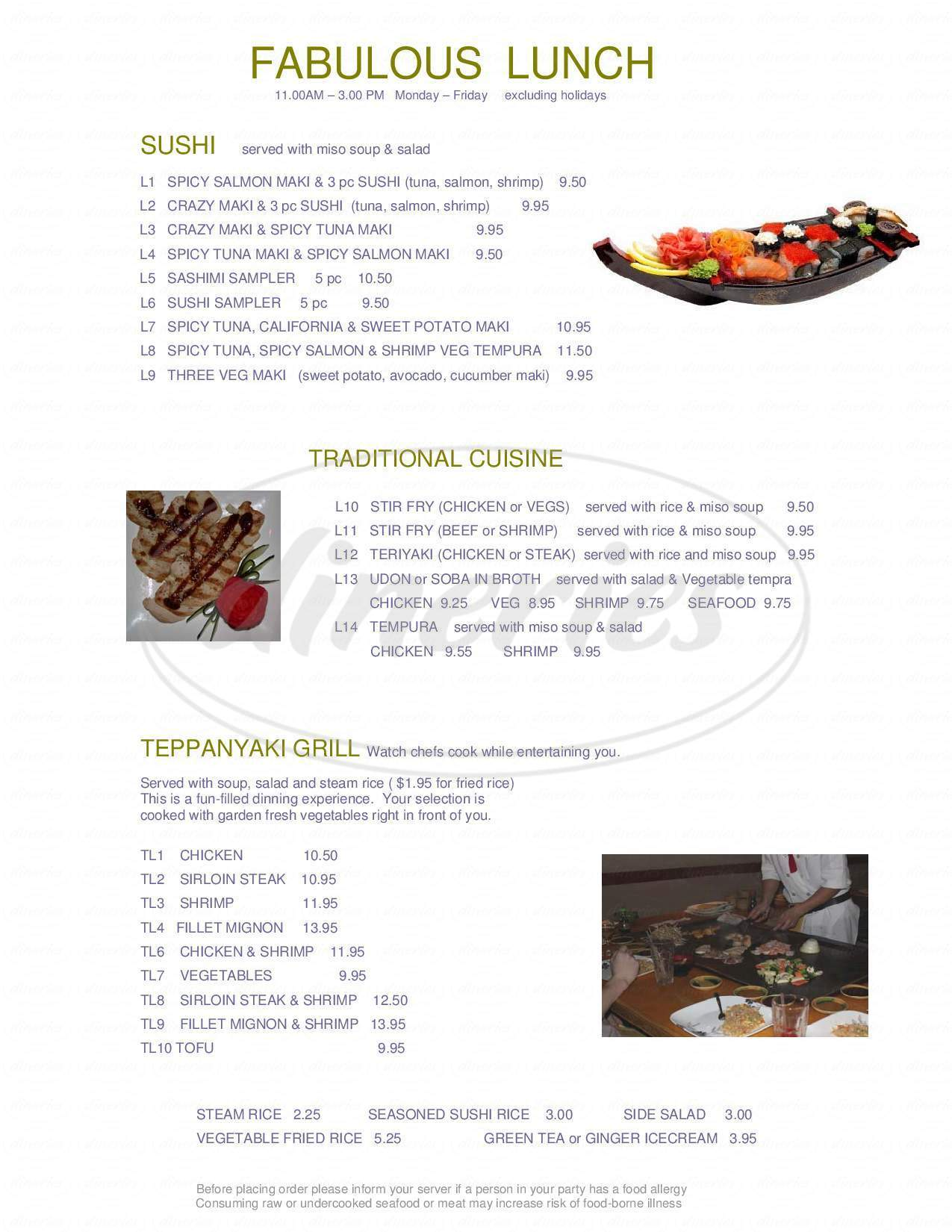 menu for Mootone Fine Japanese Cuisine