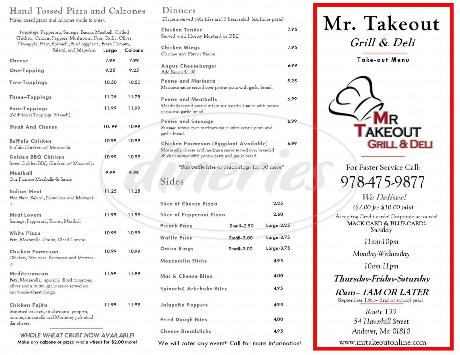mr takeout menu andover dineries