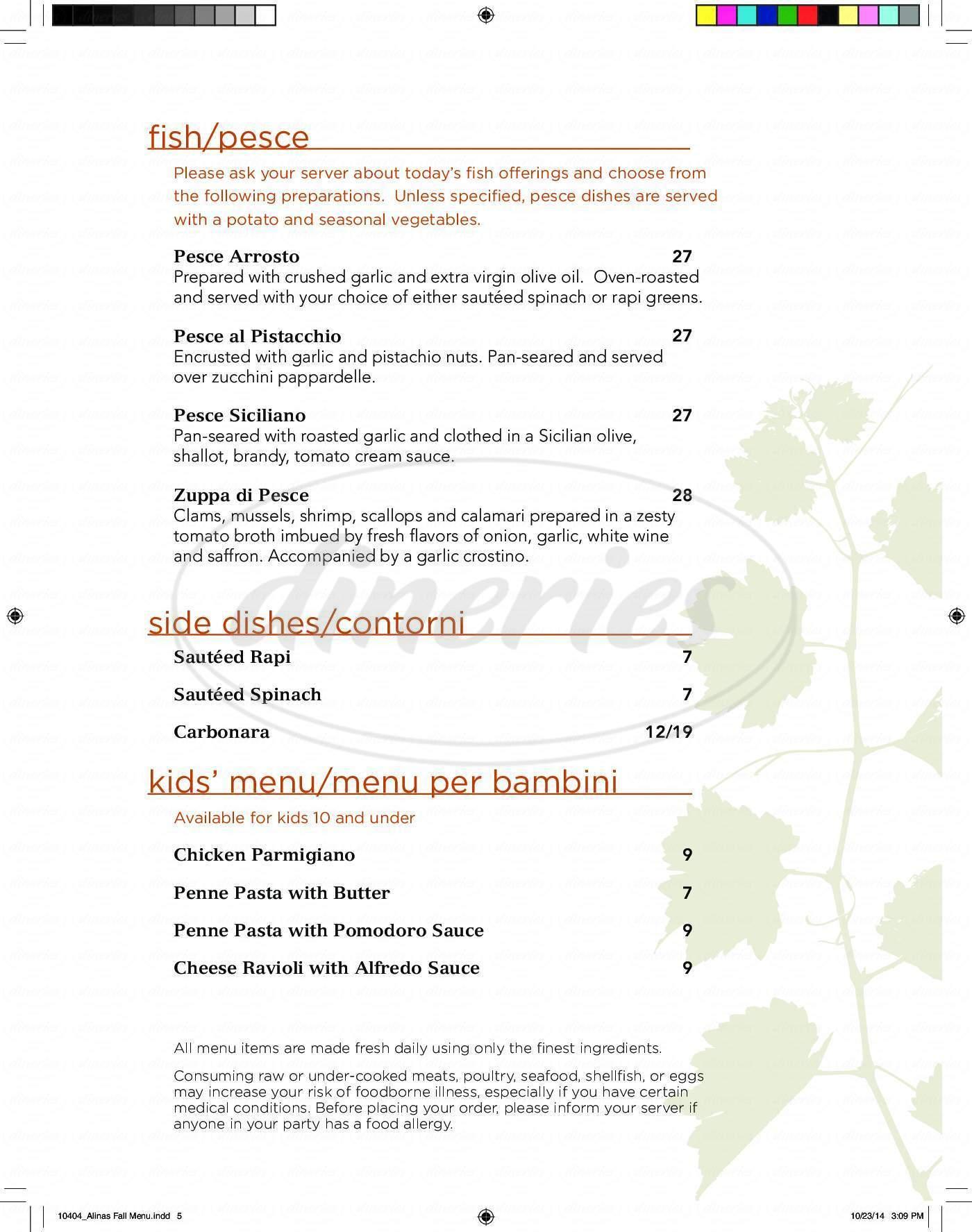 menu for Alina's Ristorante