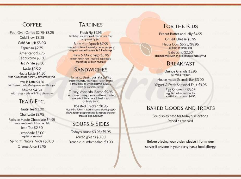 menu for Haute Coffee