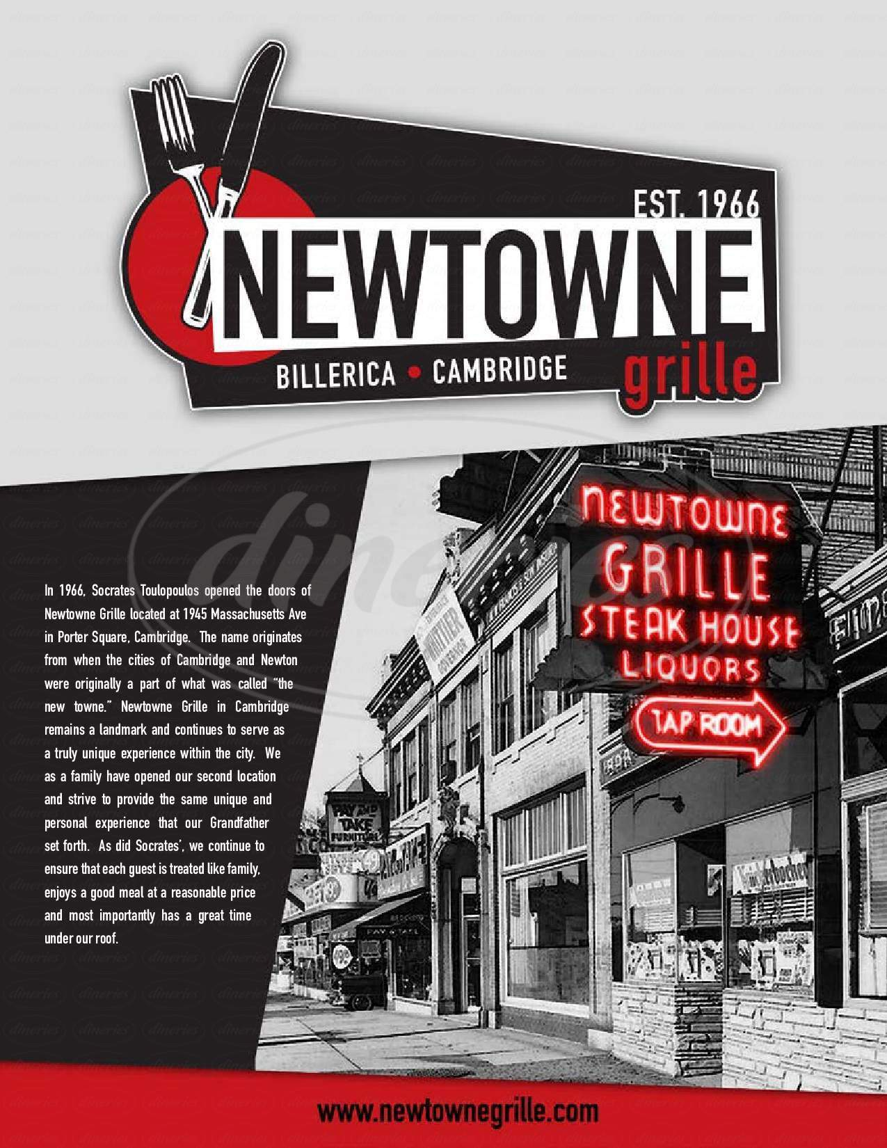 menu for Newtowne Grille