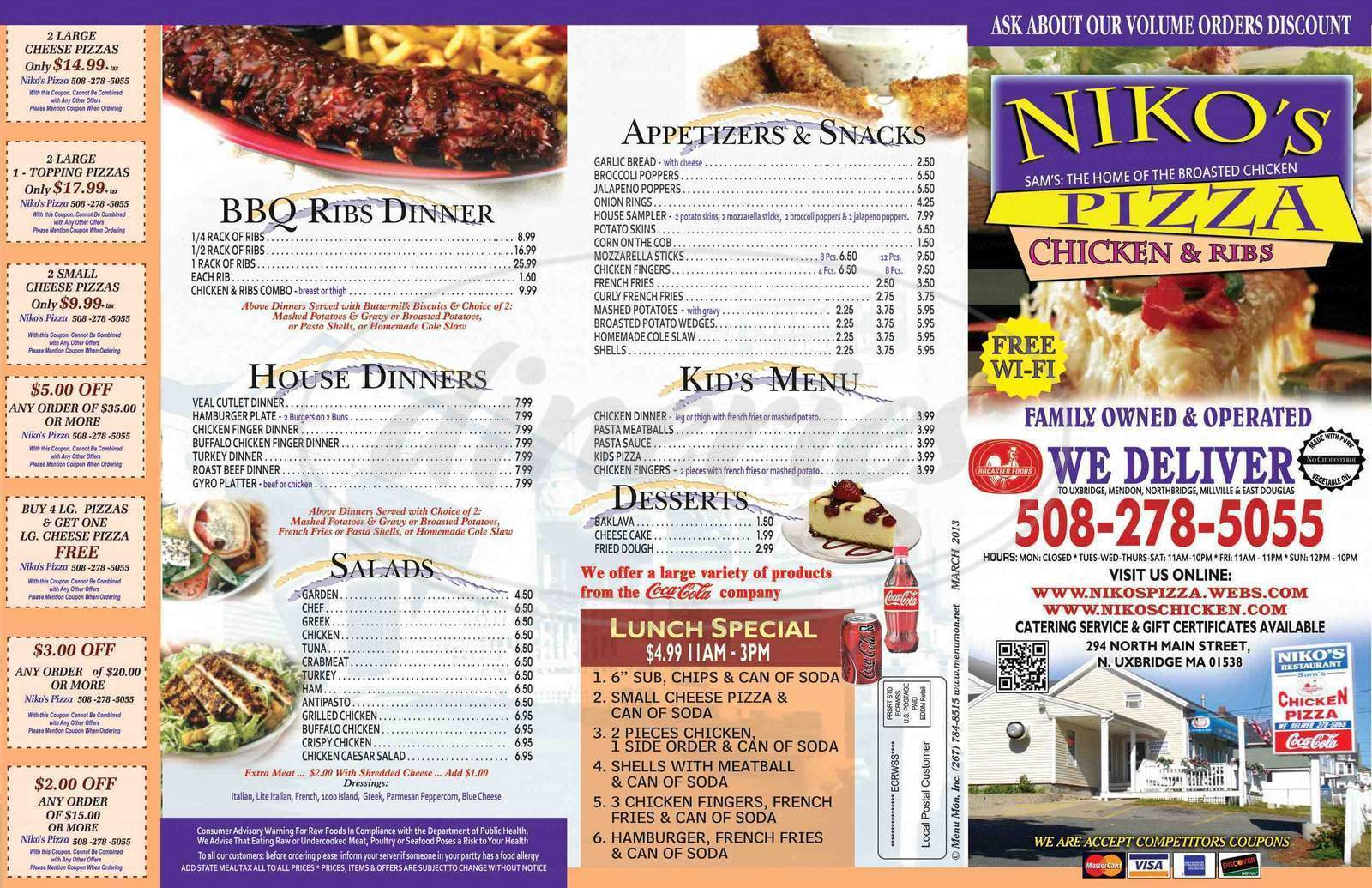 menu for Niko's Pizza Chicken & Ribs