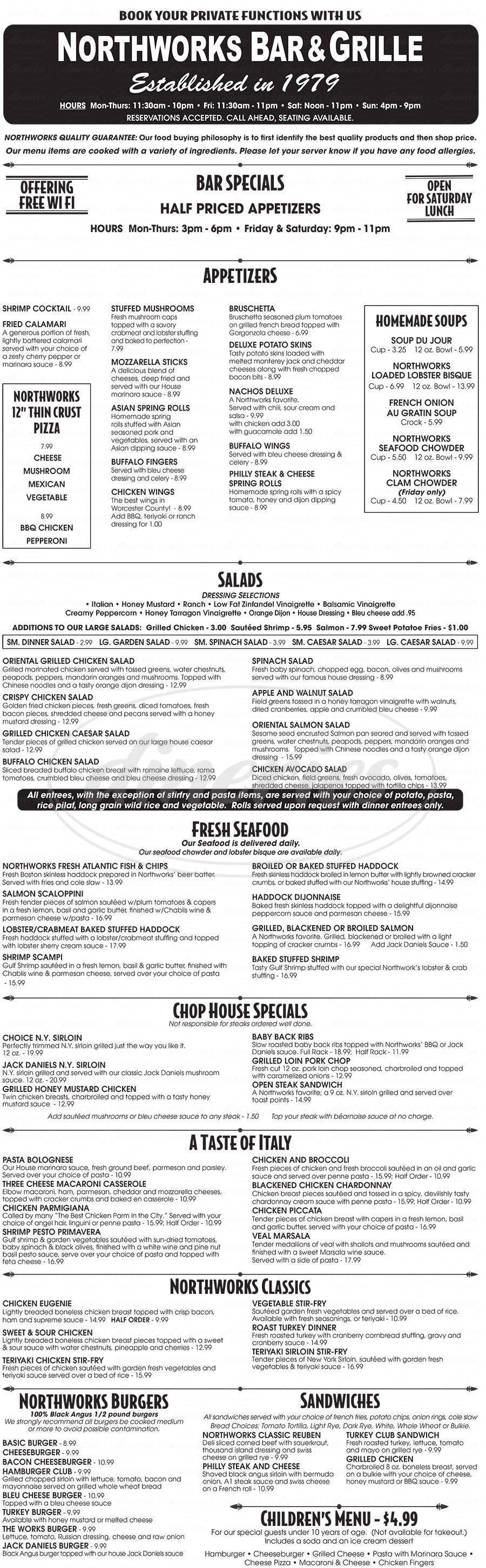 menu for Northworks Bar & Grille