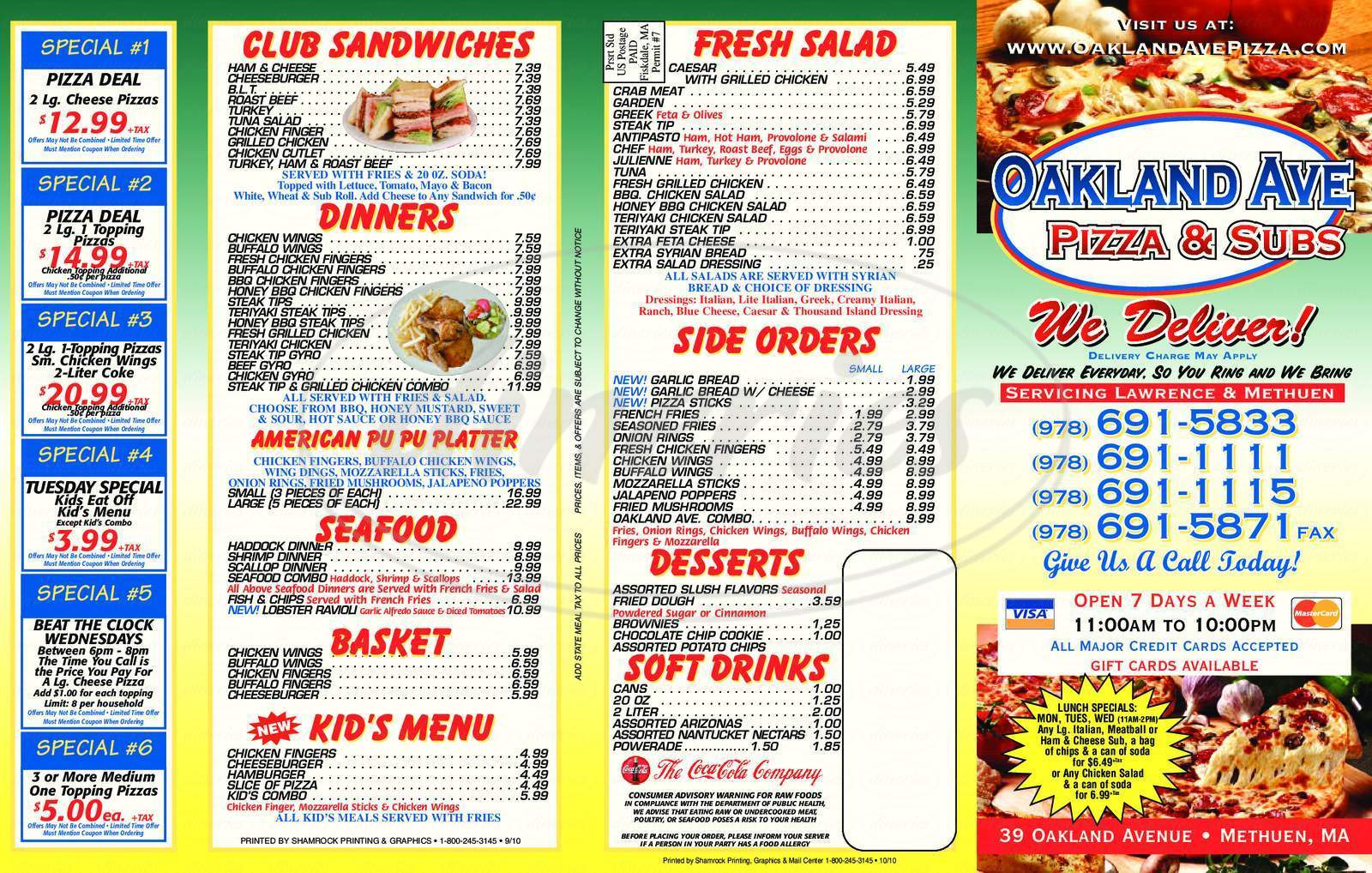 menu for Oakland Ave Pizza & Subs