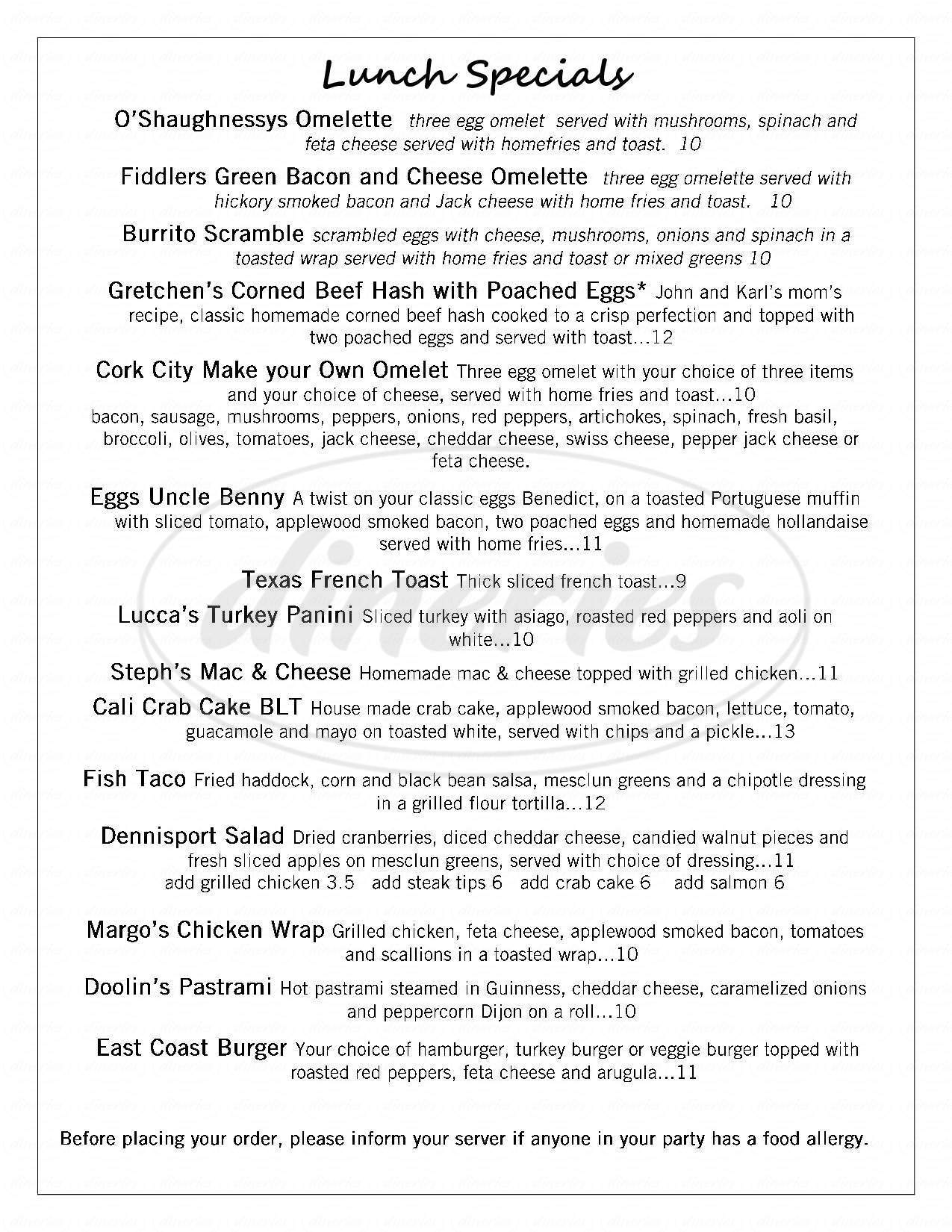 menu for O'Hara's Food & Spirits