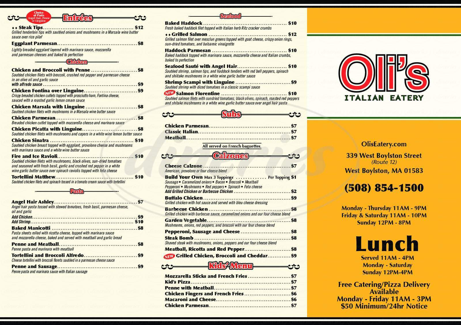 menu for Oli's Italian Eatery