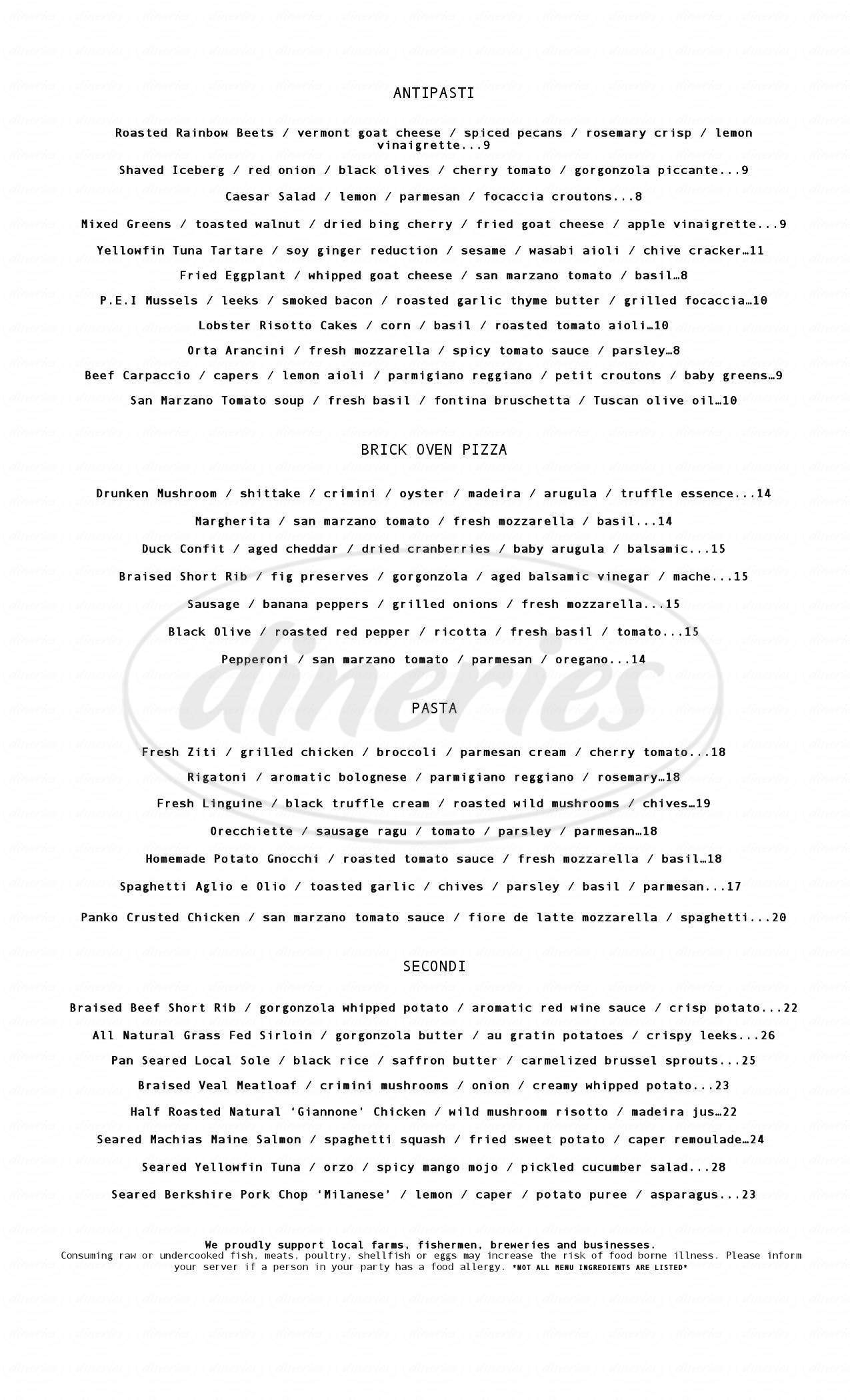 menu for Orta Restaurant