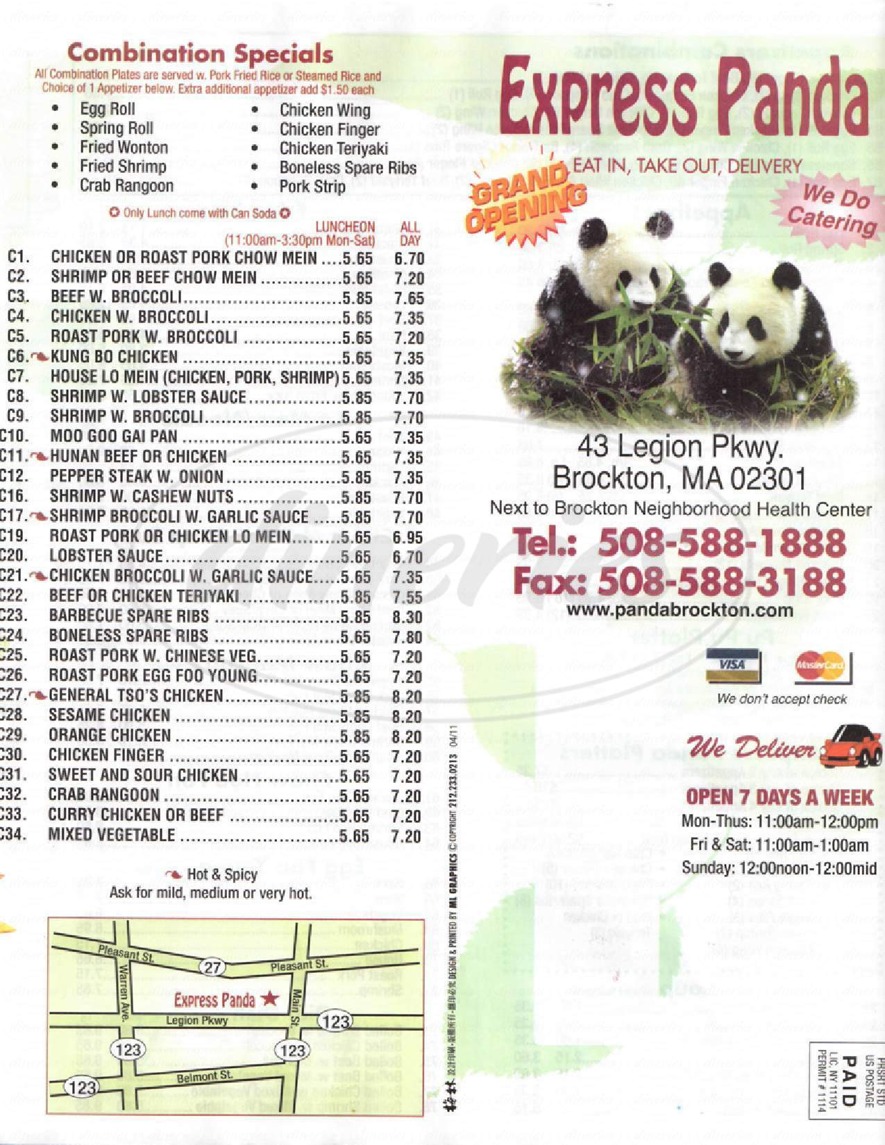menu for Express Panda