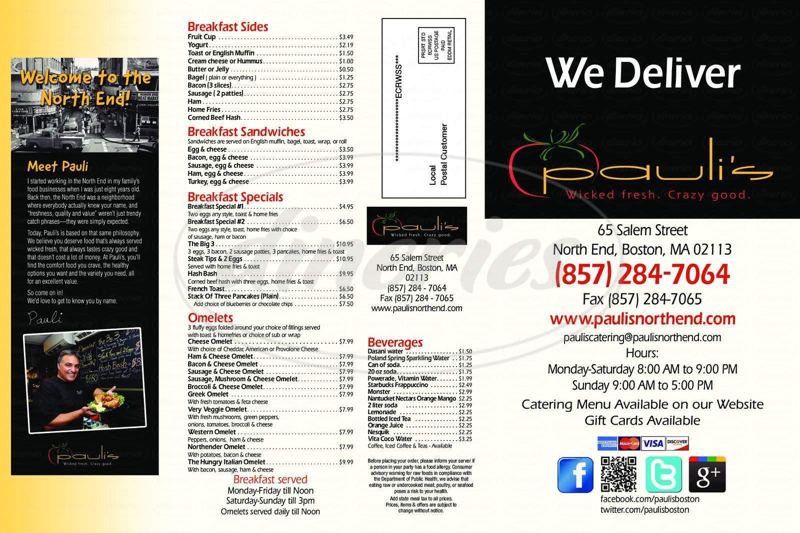 menu for Pauli's