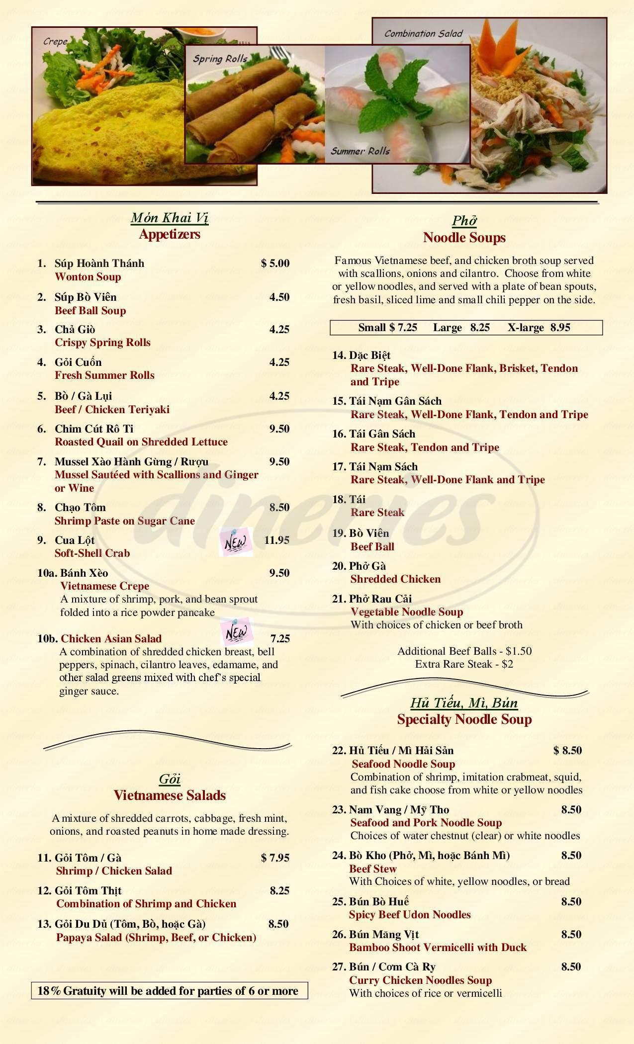 menu for Pho Dakao
