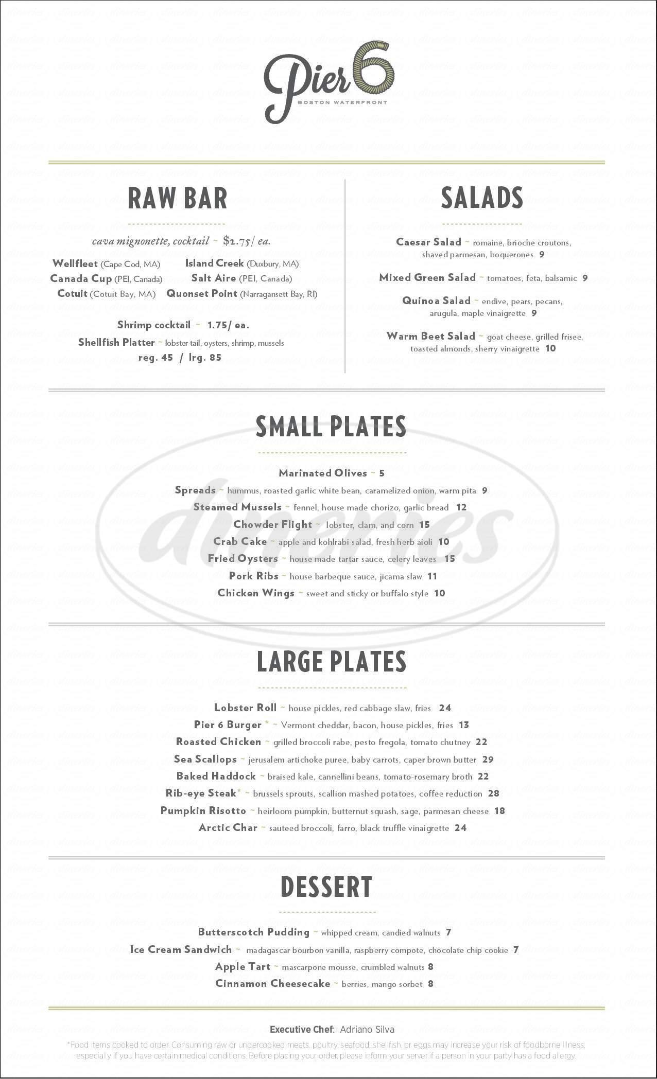 menu for Pier 6 Boston Waterfront