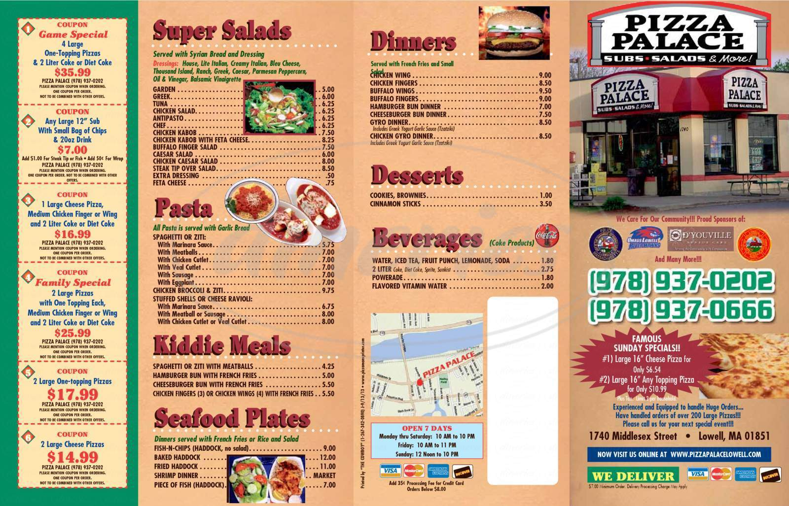 menu for Pizza Palace