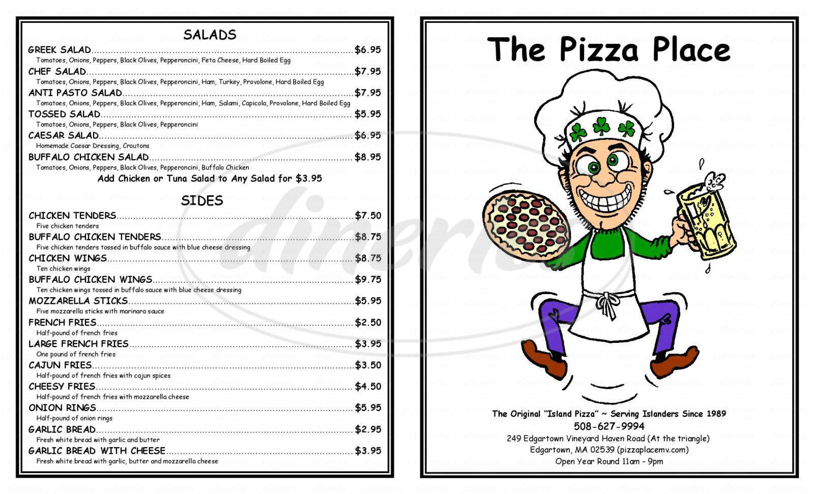menu for Vineyard Pizza Place