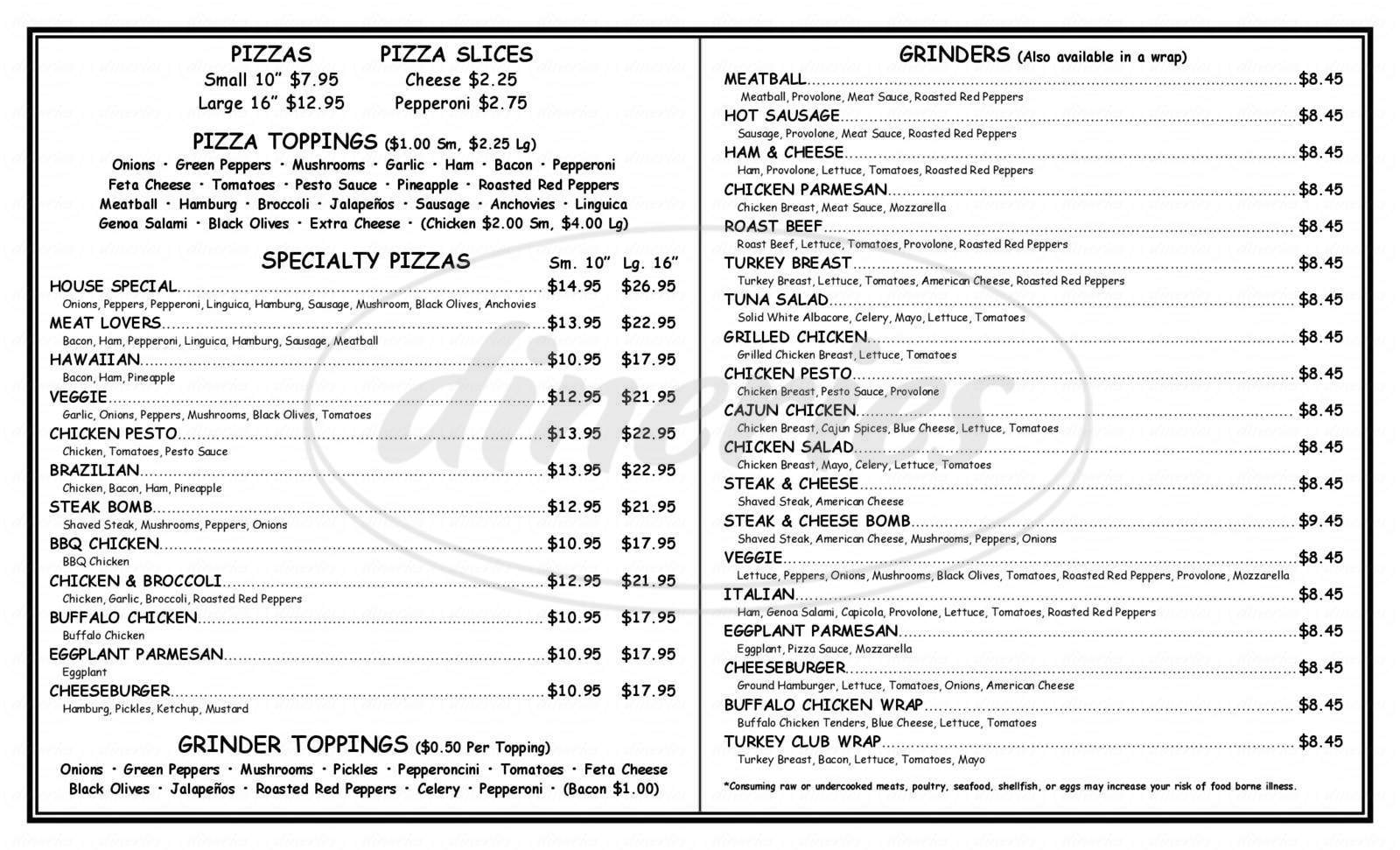 menu for Vineyard Pizza Place