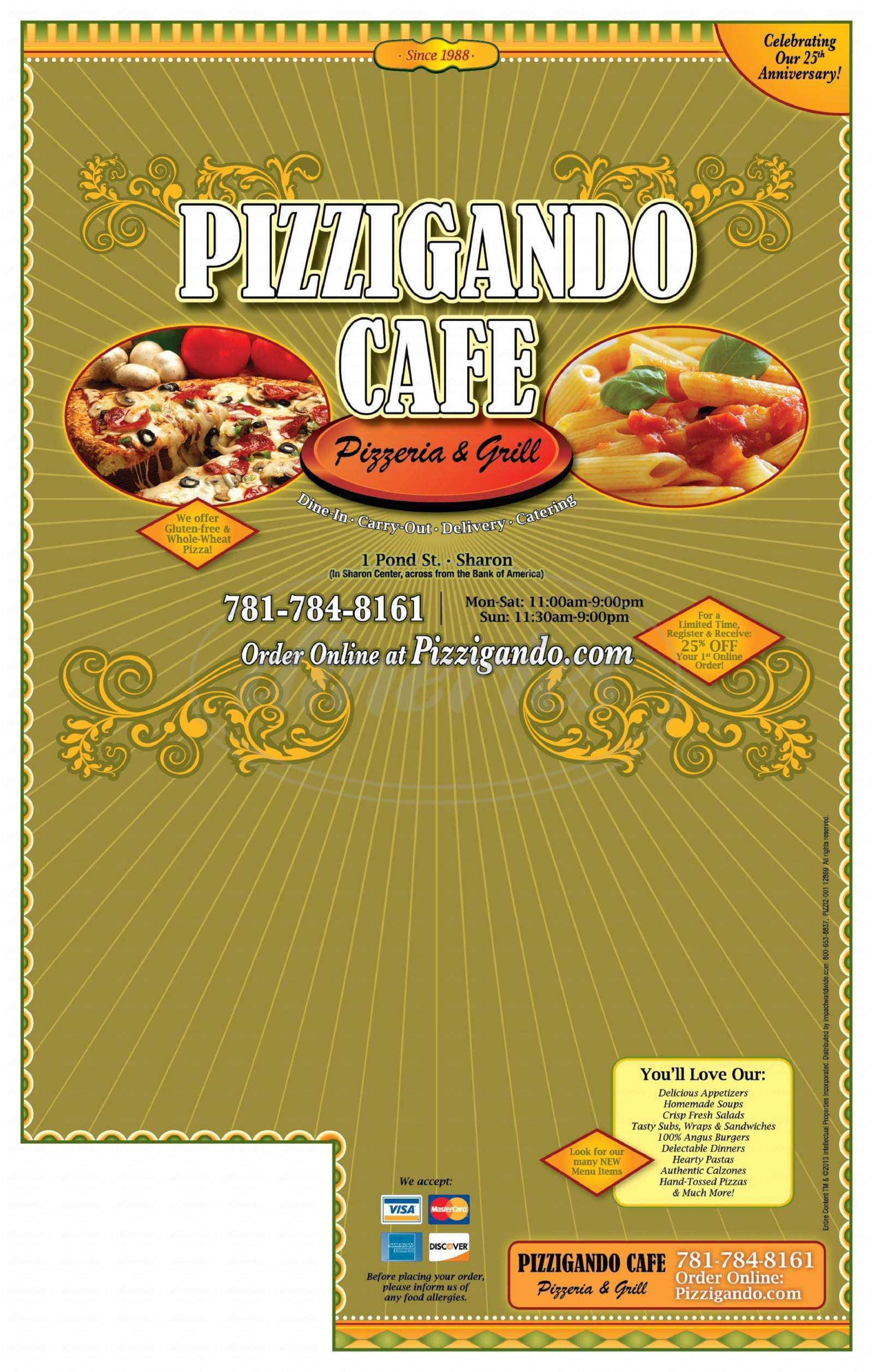 menu for Pizzigando Cafe