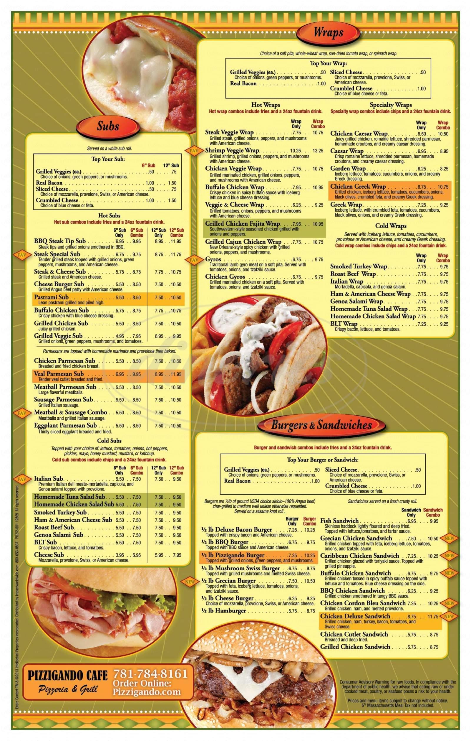 menu for Pizzigando Cafe