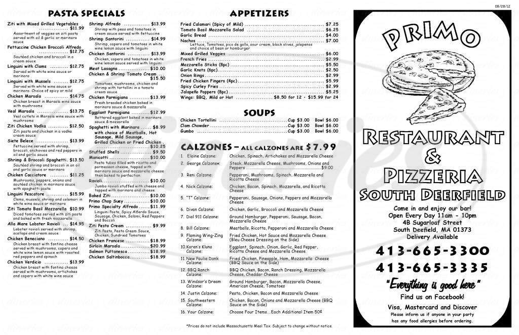 menu for Primo Restaurant and Pizzeria
