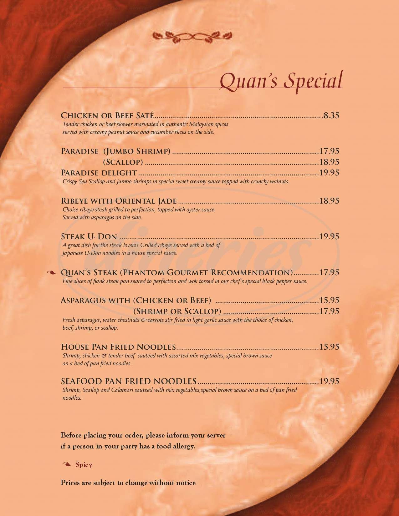 menu for Quan's Kitchen