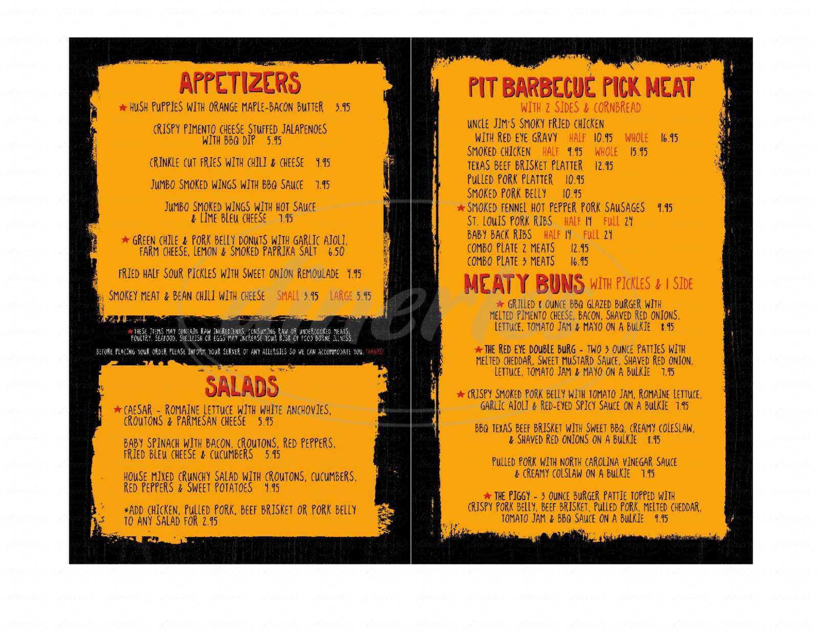 menu for Red-Eyed Pig