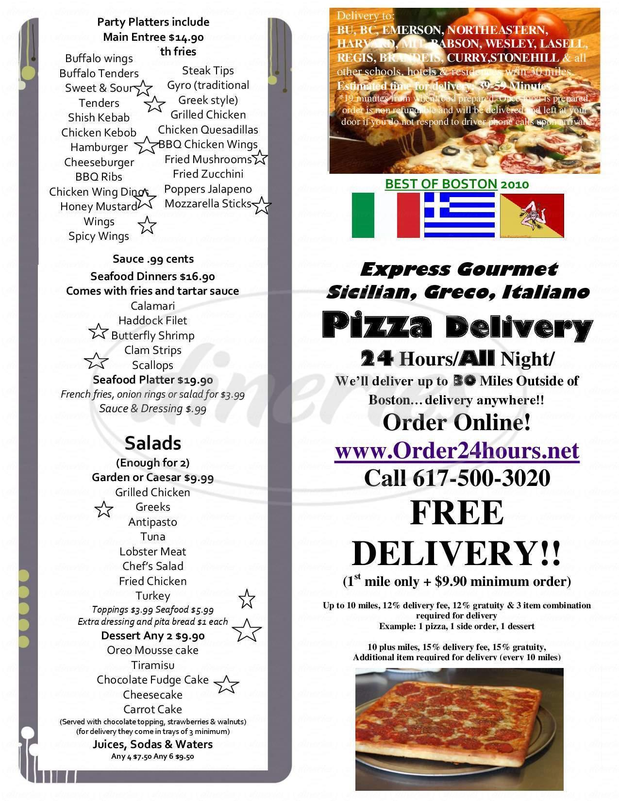 menu for Regal Cafe Pizzeria