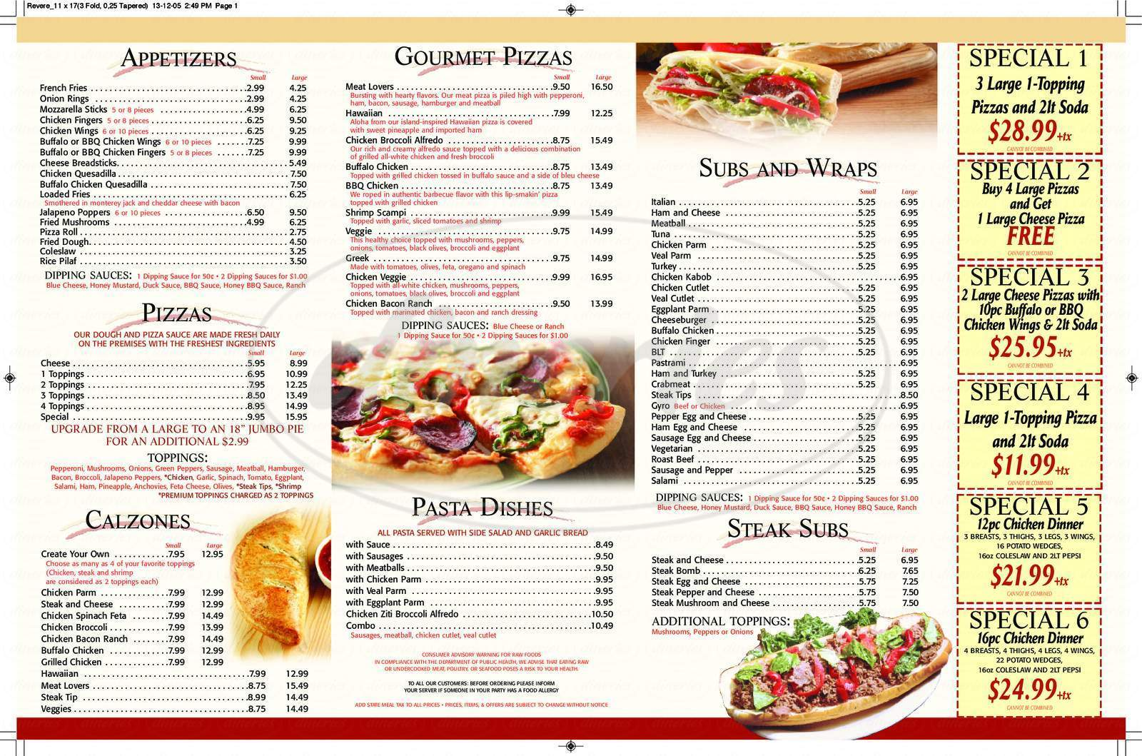 menu for Revere House Of Pizza