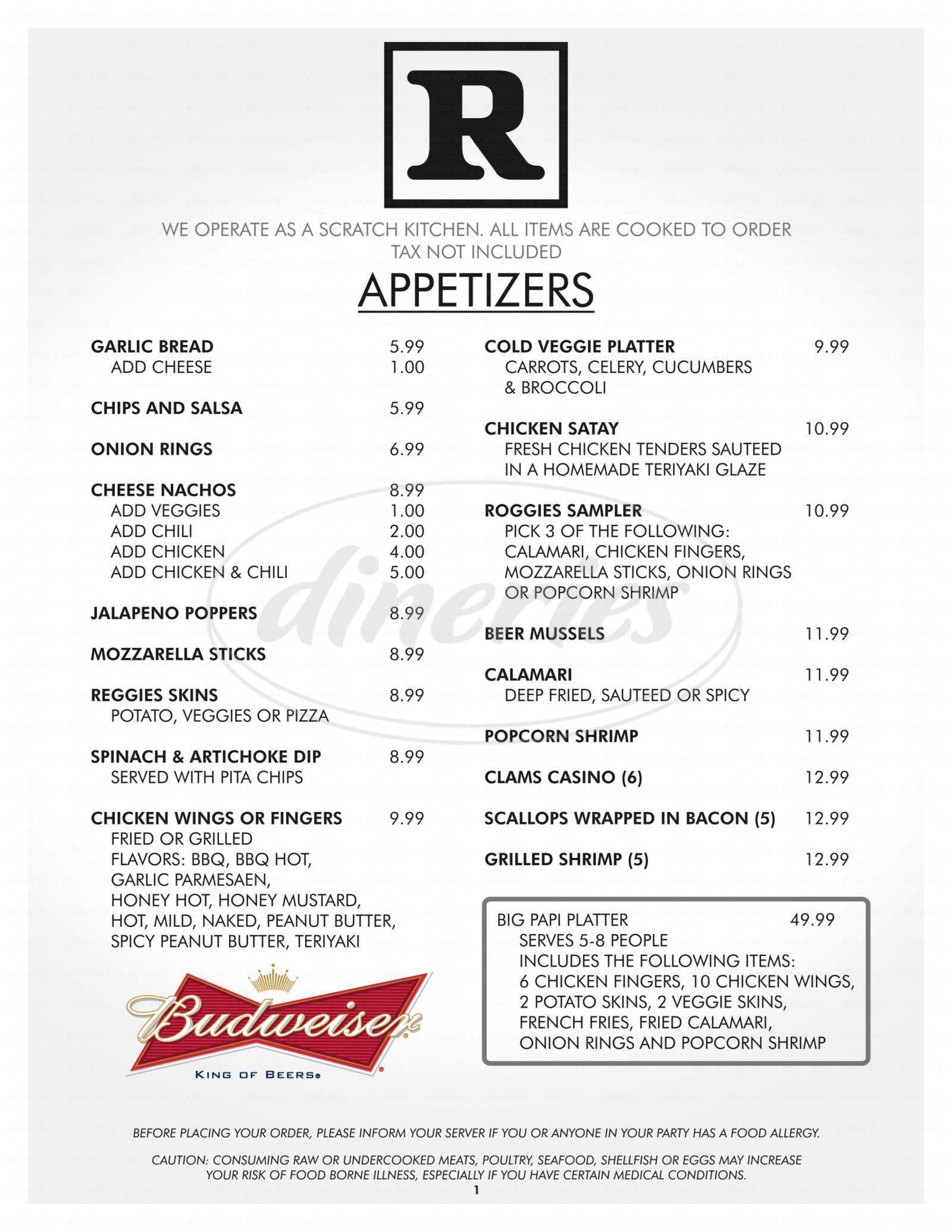menu for Roggie's Brew & Grille