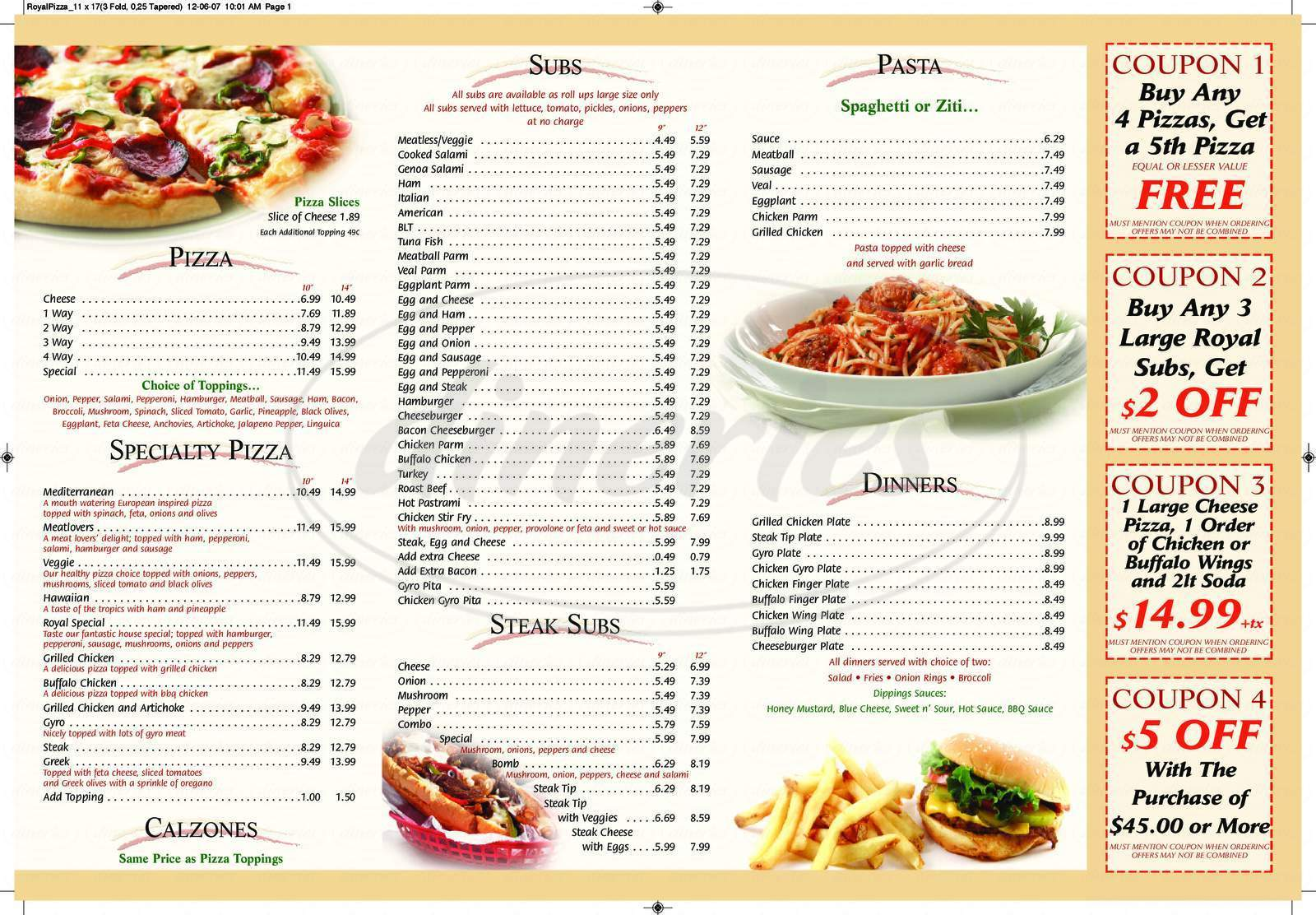 menu for Royal Pizza
