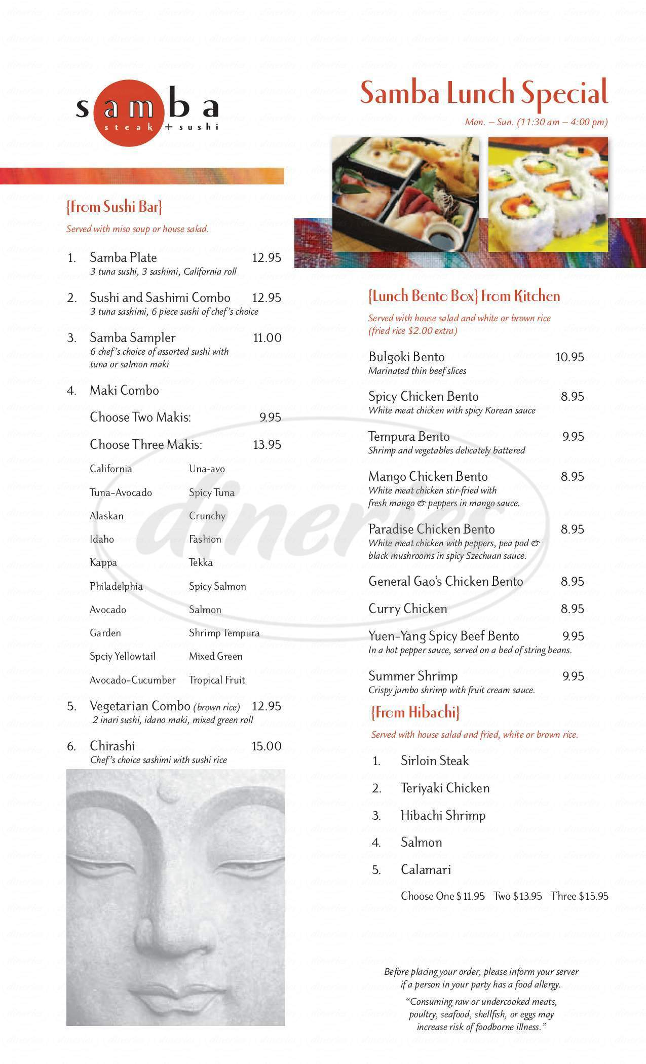 menu for Samba Steak House & Sushi