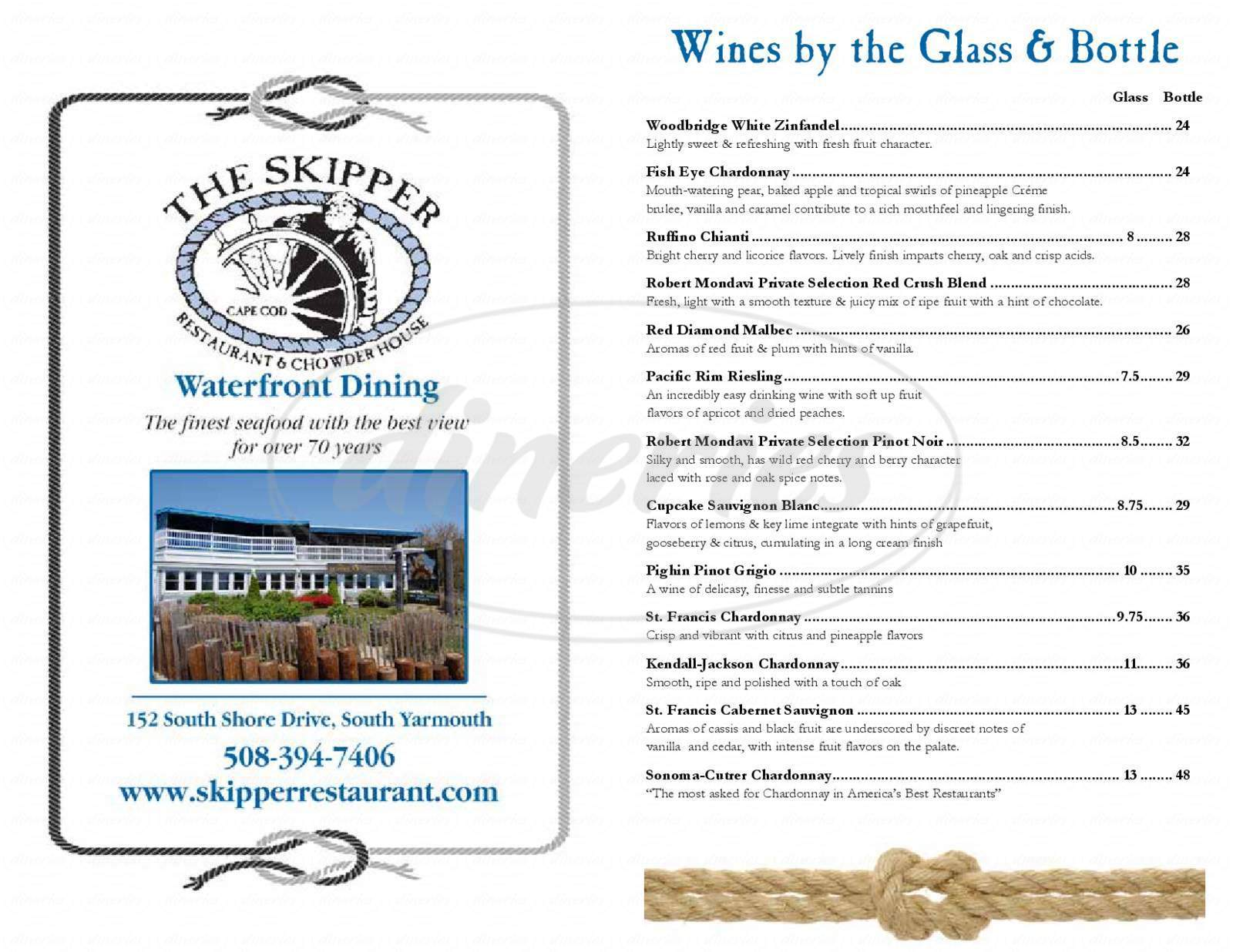 menu for Skipper Restaurant of Bass River