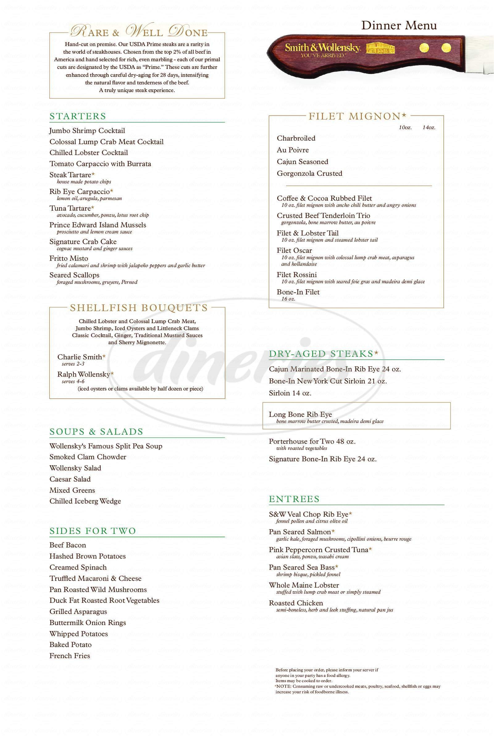 menu for Smith & Wollensky