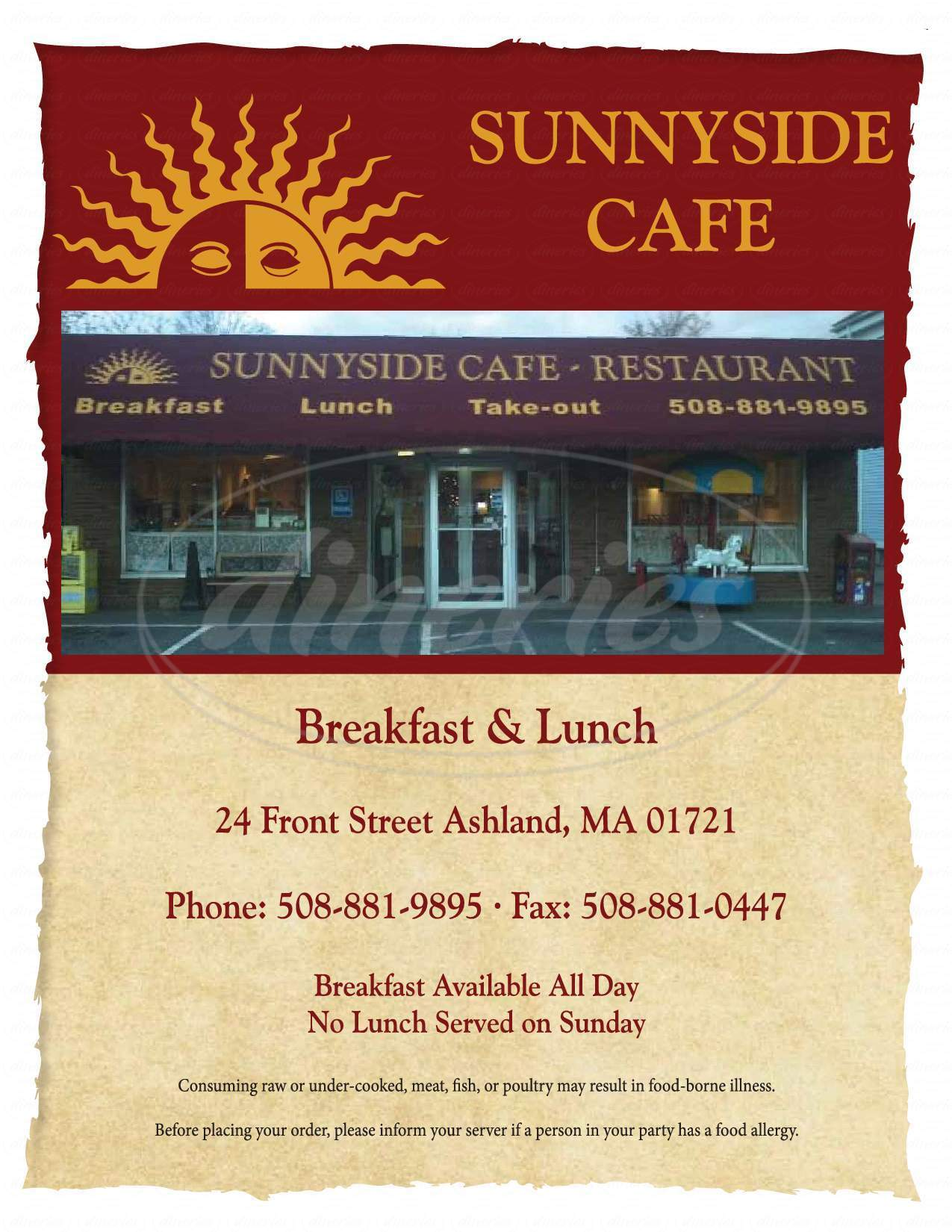 menu for Sunny Side Cafe and Catering