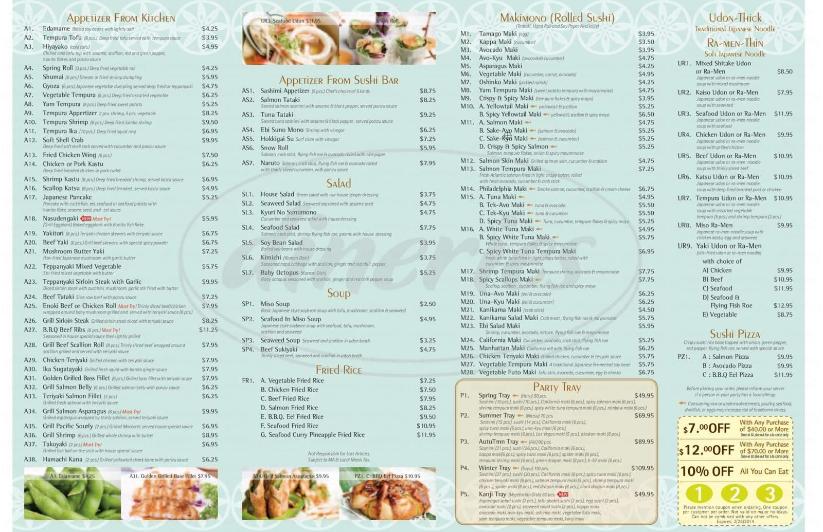 menu for SuSu Sushi