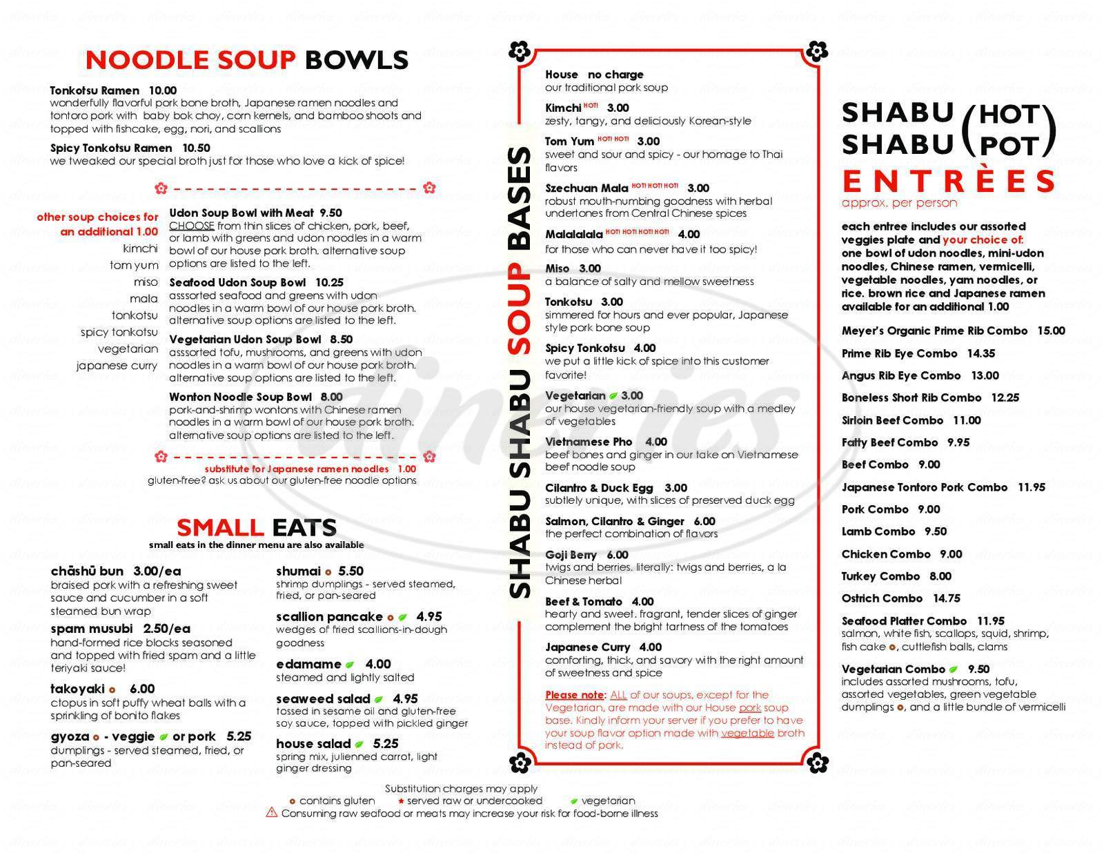 menu for Swish Shabu