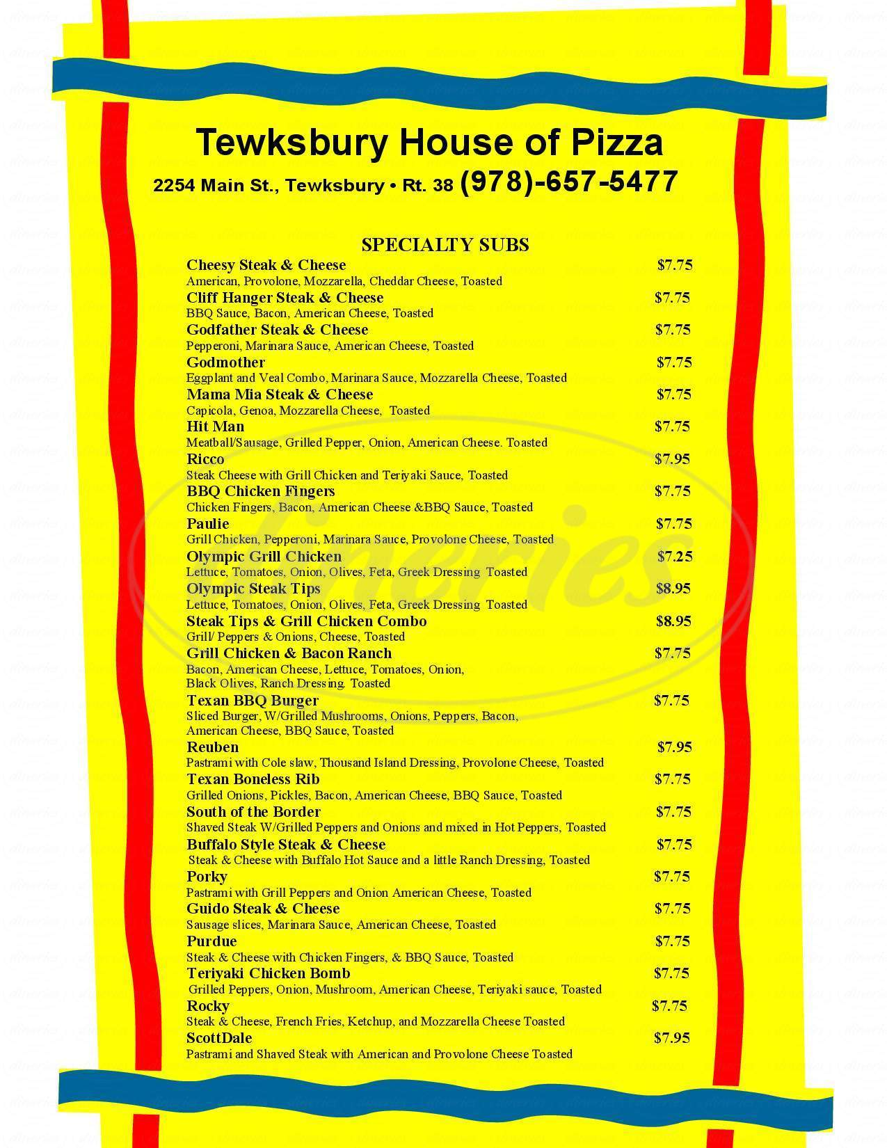 menu for Tewksbury House of Pizza