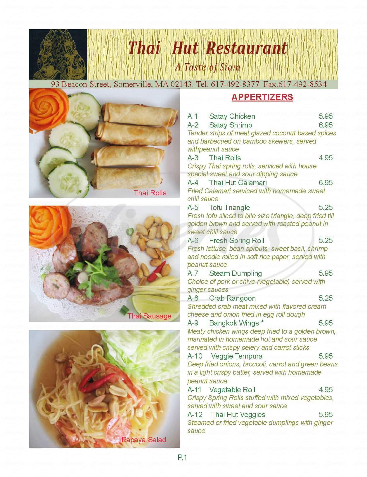 menu for Thai Hut