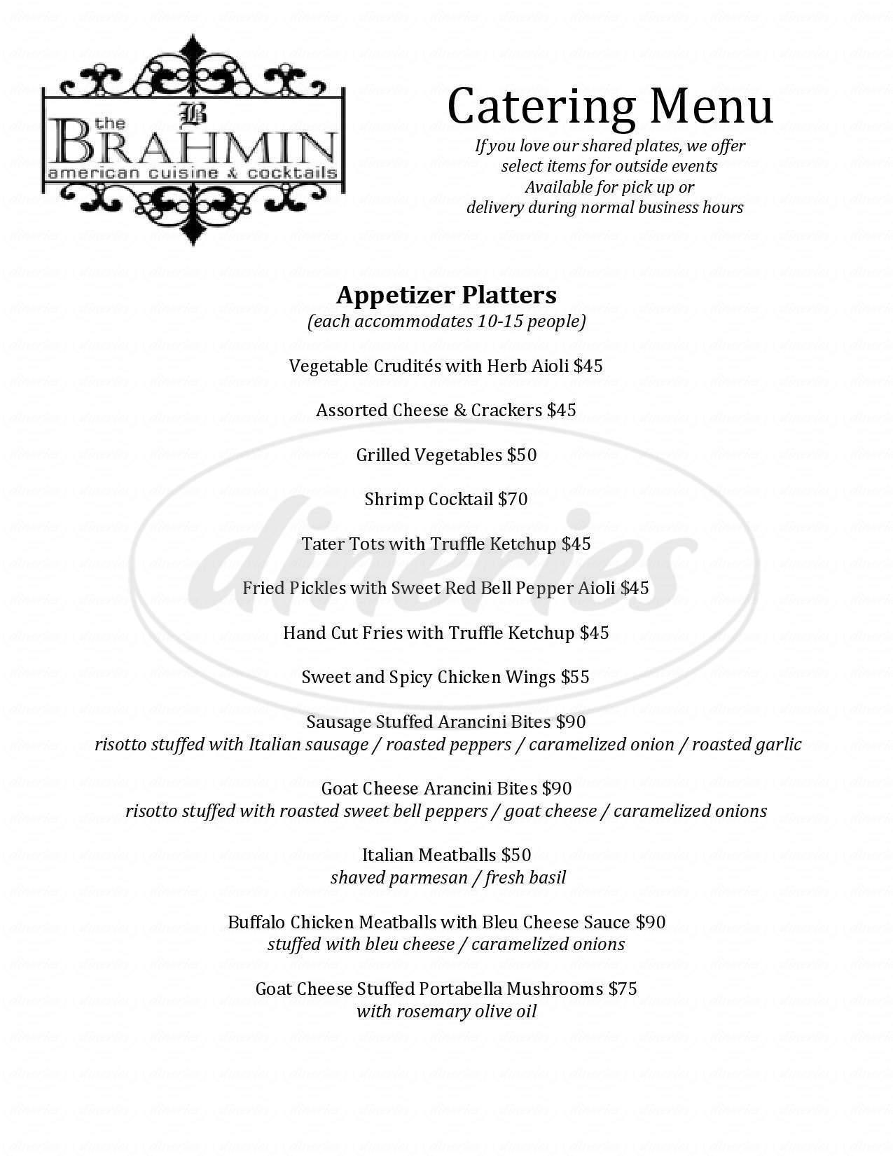 menu for The Brahmin