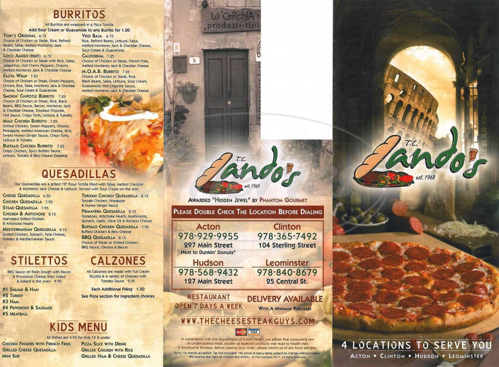 menu for TC Lando's
