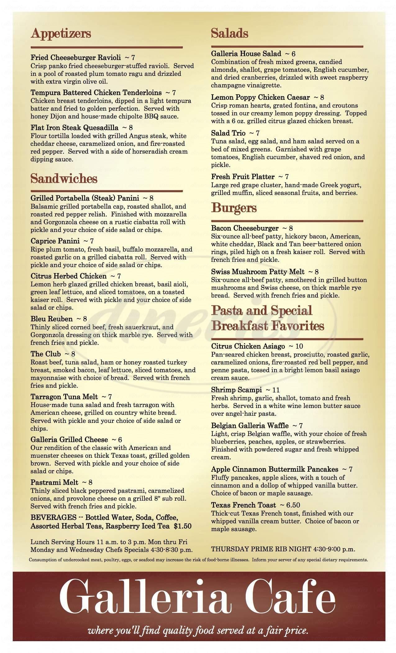 menu for Galleria Cafe
