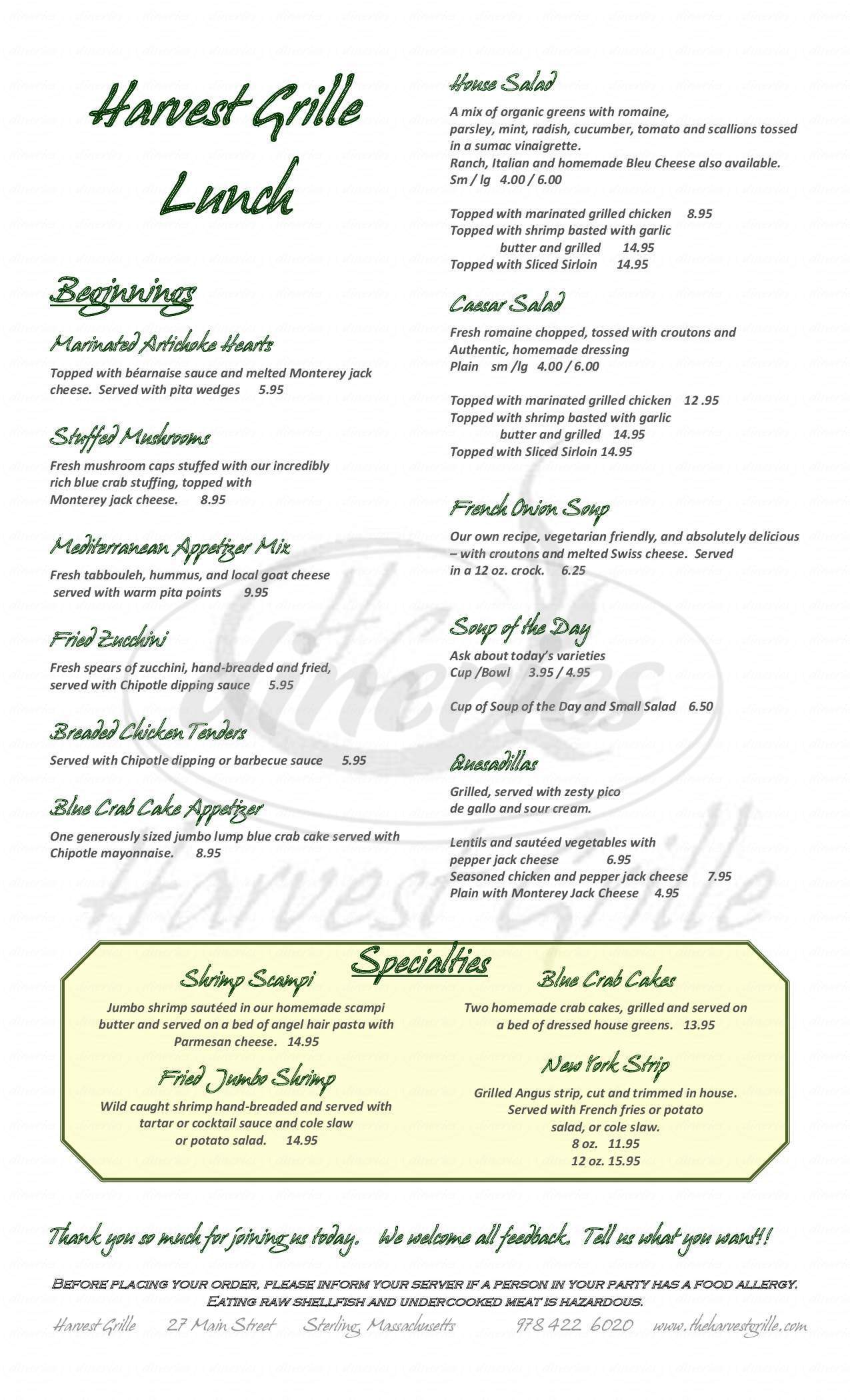 menu for The Harvest Grille
