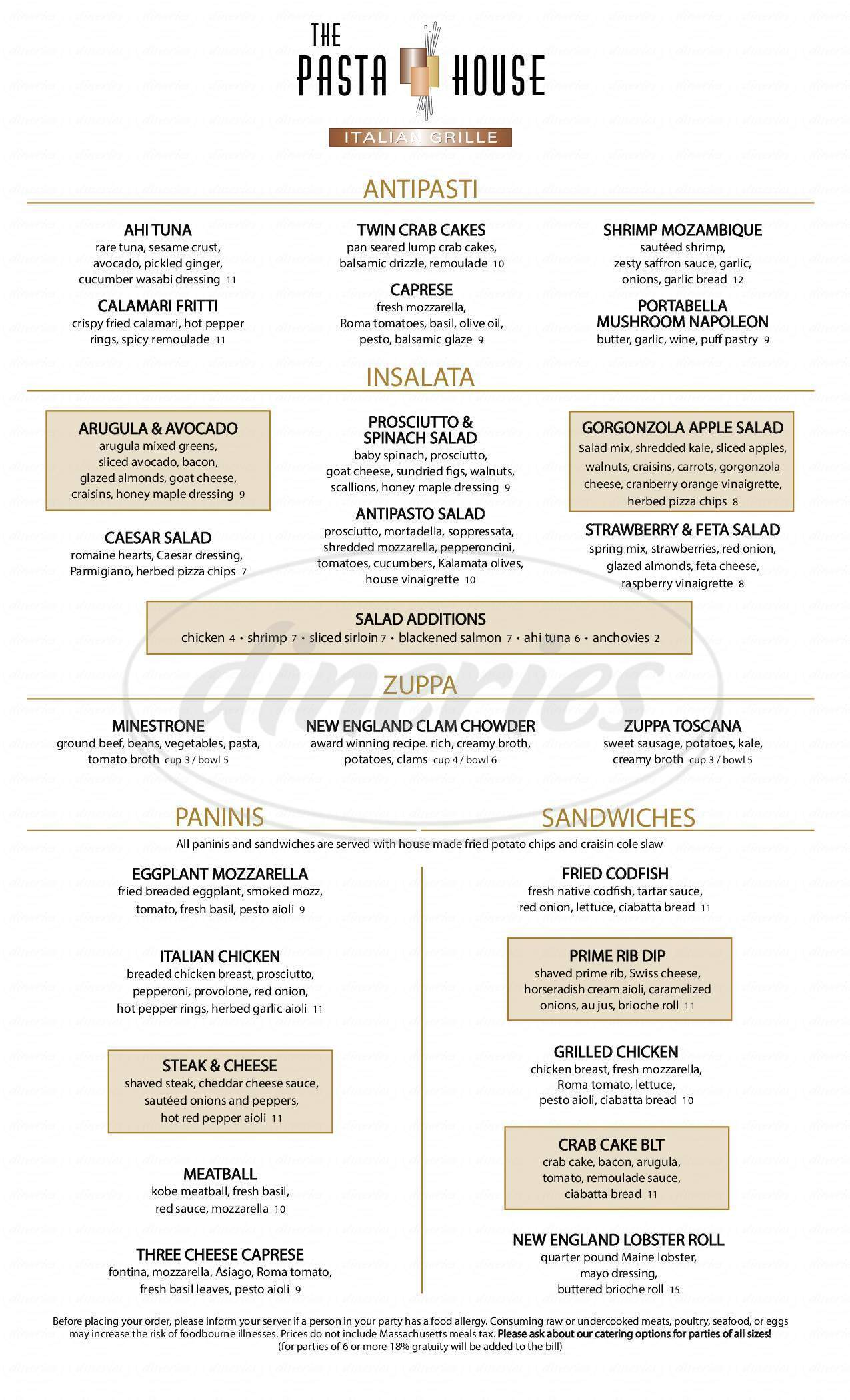menu for The Pasta House
