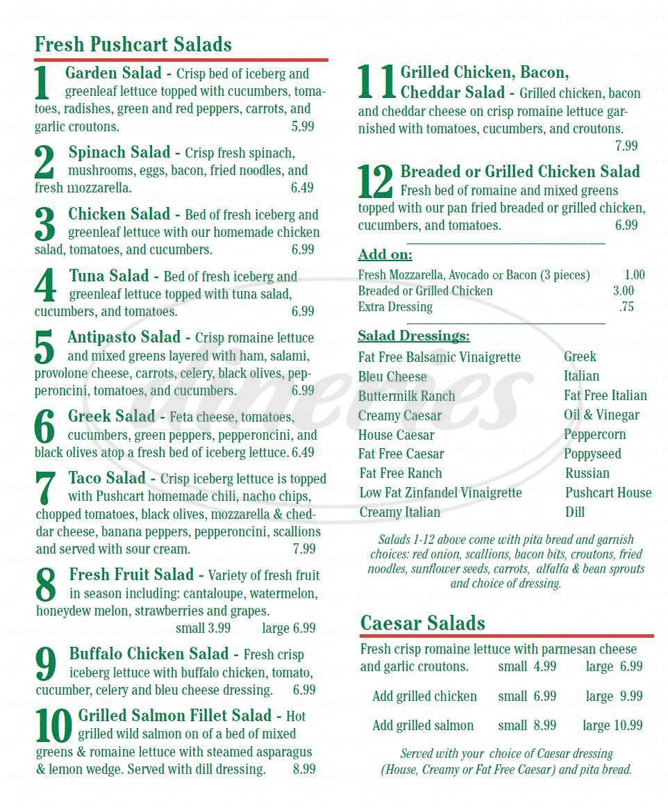 menu for The Pushcart Cafe