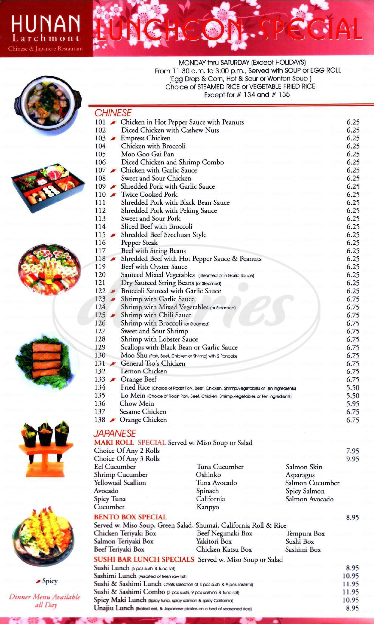 menu for Hunan Larchmont